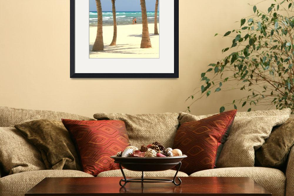 """Palm Trees and Beach in Playa del Carmen&quot  (2010) by RoupenBaker"