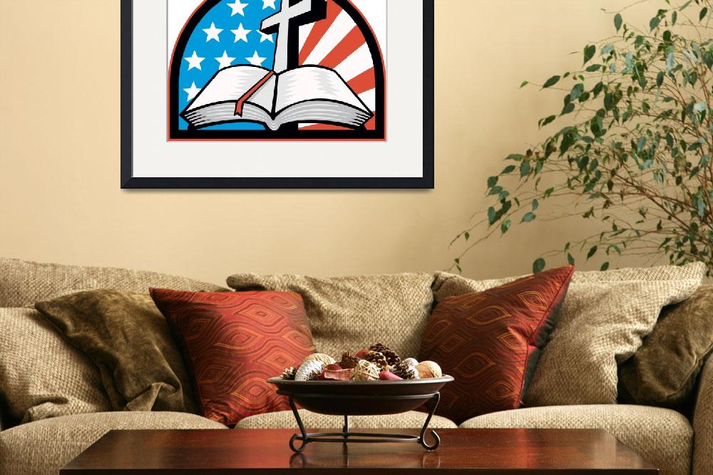 """Bible With Cross American Stars Stripes&quot  (2013) by patrimonio"