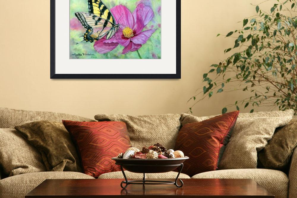 """Tiger Swallowtail on Pink Cosmos by Sally Vidalin&quot  (2012) by SallyVidalin"