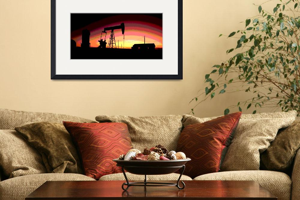 """Oil Well Pump Station-Oil Gas Industry-Framed&quot  (2016) by Tulsa1000"