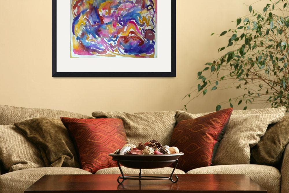 """Abstract Watercolor in Hot Pink, Blue, Orange, and&quot  (2013) by TheArtwerks"