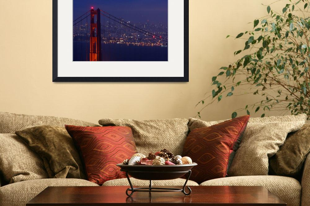 """Twilight Golden Gate Bridge Twinkle City Lights&quot  (2008) by sfbayimages"