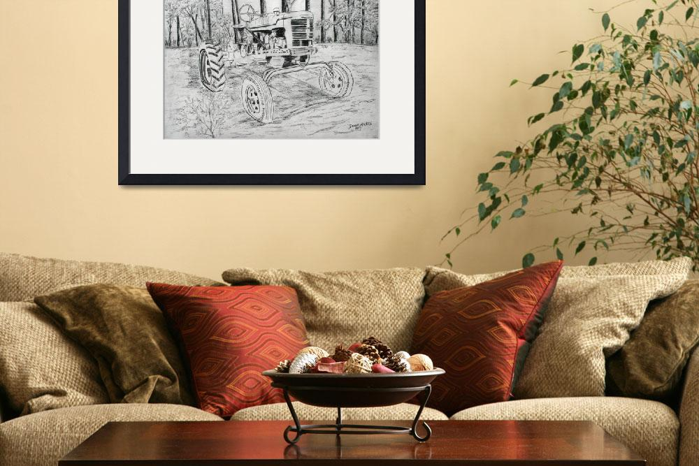 """old farm tractor drawing&quot  (2013) by derekmccrea"