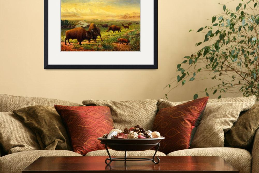 """Buffalo Bison Great Plain Western Art Landscape&quot  (1997) by walt-curlee"