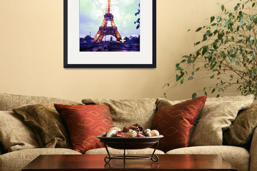 """Eiffel Tower in Greens and Blues&quot  by Linde"
