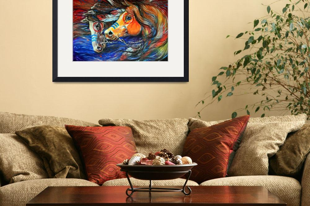 """THREE FEATHERS INDIAN WAR PONIES&quot  (2011) by MBaldwinFineArt2006"