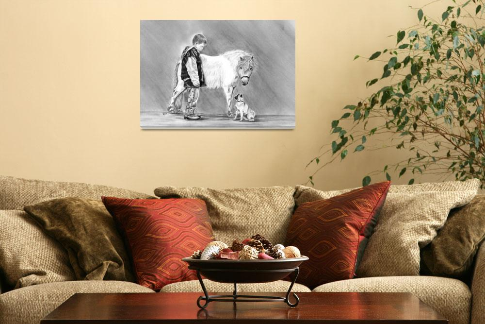 """Trio of Curiosity- Miniature horse, Pug, boy&quot  (2008) by inkandbrushcreations"