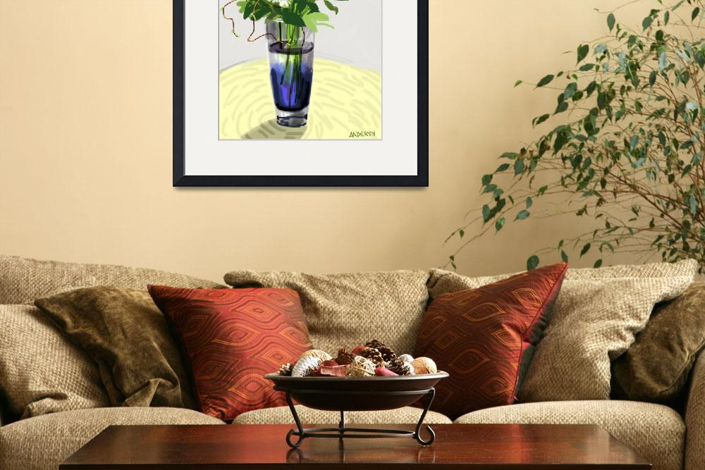 """Flowers In A Blue Vase&quot  (2012) by michaelandersonartprints"