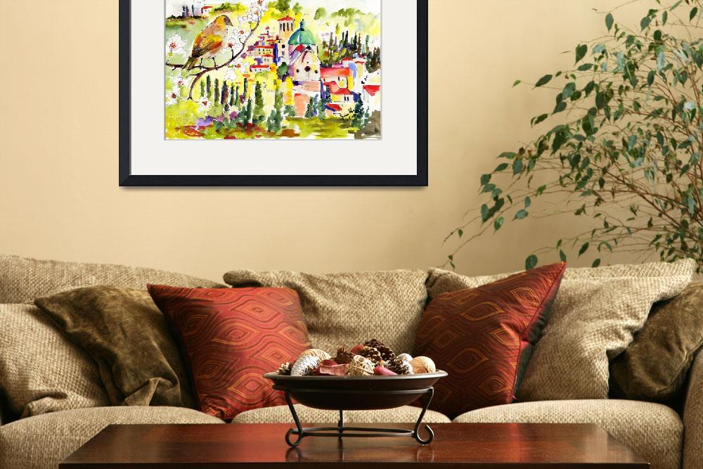 """Spring in Assisi Italy Umbria Watercolor Ginette&quot  (2012) by GinetteCallaway"