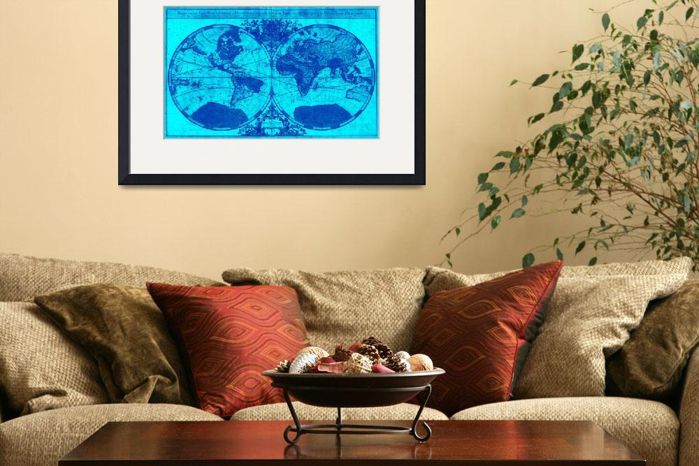 """World Map (1691) Light Blue & Blue&quot  by Alleycatshirts"