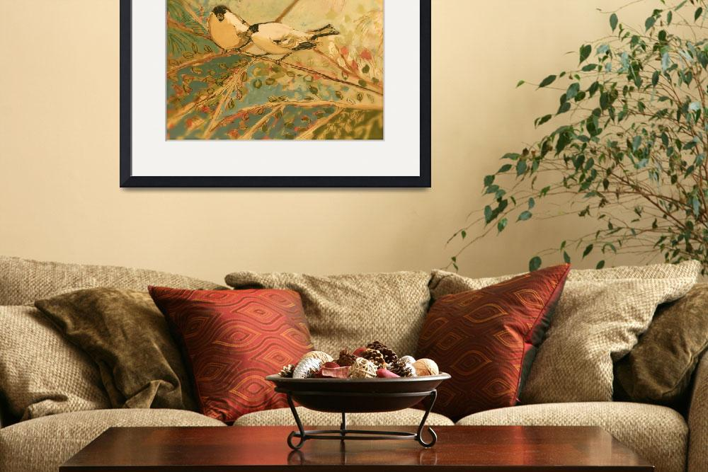 """Two Goldfinch in Sepia&quot  (2009) by JENLO"