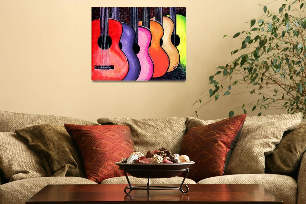 """Acoustic Guitars Fine Art Colorful Print&quot  (2010) by lonisart570"