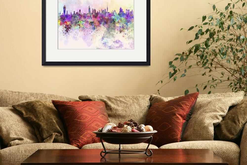"""Kuwait City in watercolor background&quot  by paulrommer"