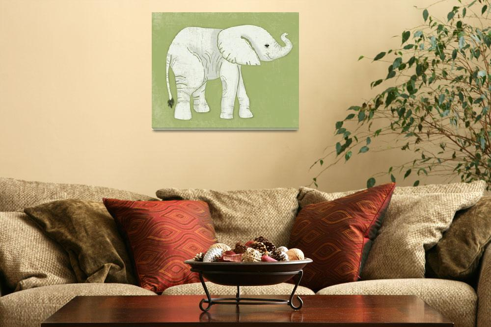"""Baby Elephant in Lime Green&quot  by Littlepig"