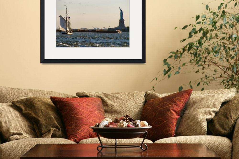 """Sailboat and Statue of Liberty&quot  by nyfalcon"