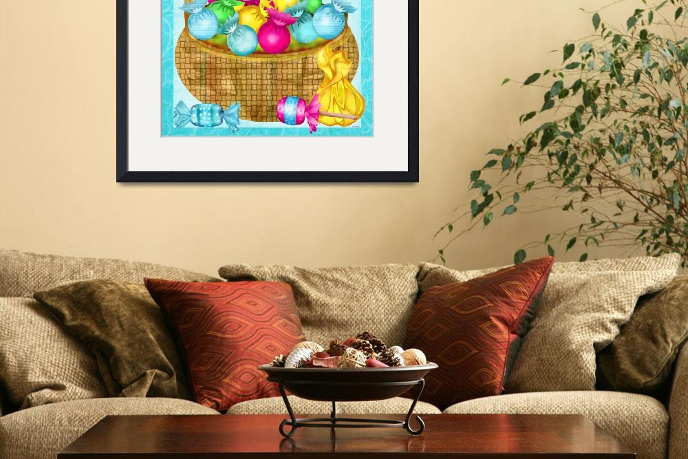 """Easter Candy Folk Art Whimsy&quot  (2015) by ReneeLozenGraphics"