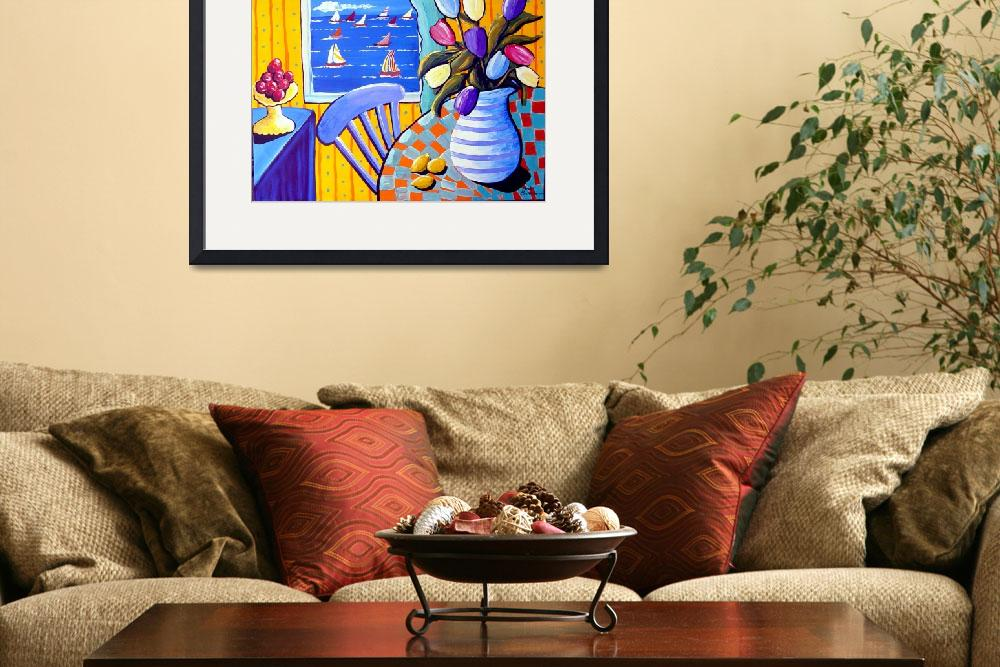 """Still Life with Tulips and Sailboats&quot  (2004) by reniebritenbucher"