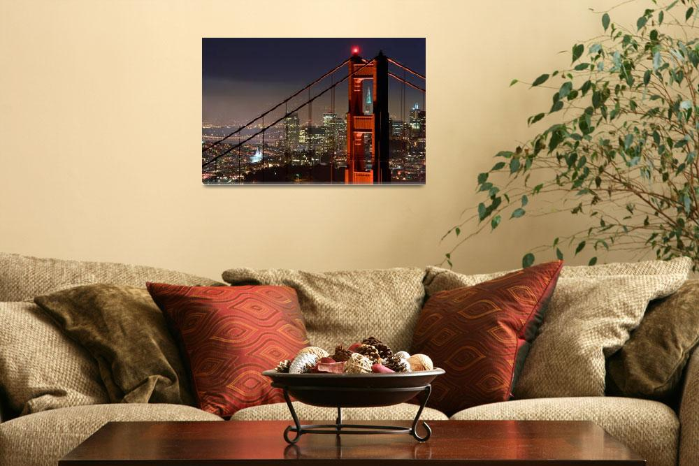 """Golden Gate Bridge and San Francisco at night&quot  (2007) by canbalci"