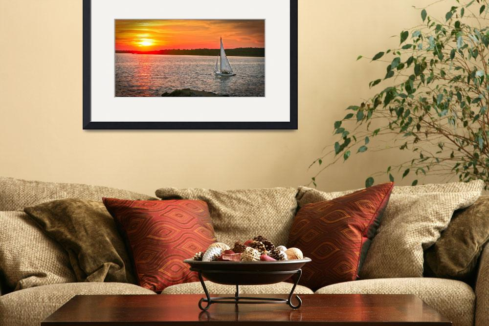 """Orange, Red, Yellow Sunset #2, Mystic, Connecticut&quot  (2005) by mjphoto-graphics"