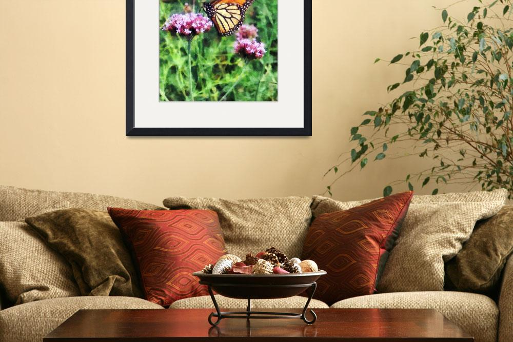 """Monarch Butterfly on Pink Lantana&quot  (2011) by susansartgallery"