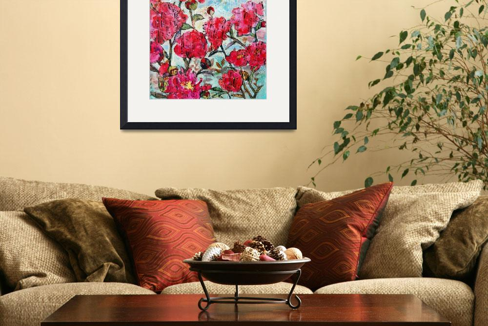"""Peony Polka, pink peony mixed media collage art&quot  (2014) by schulmanart"