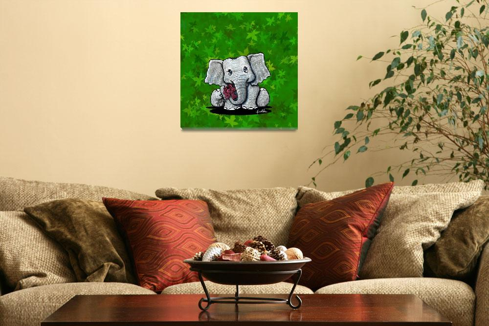 """Elephant On Green&quot  (2007) by KiniArt"