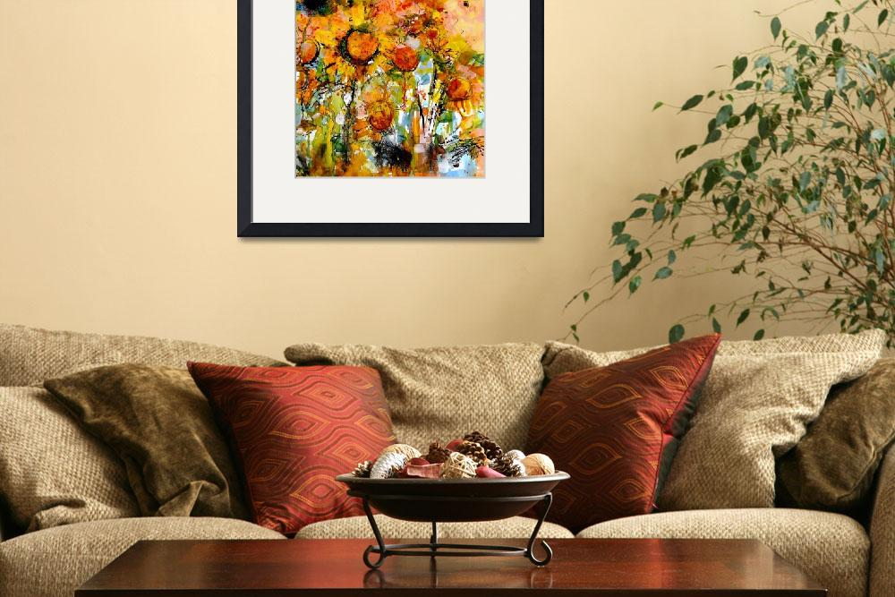 """Abstract Sunflowers Watercolor & Ink by Ginette Ca&quot  (2007) by GinetteCallaway"