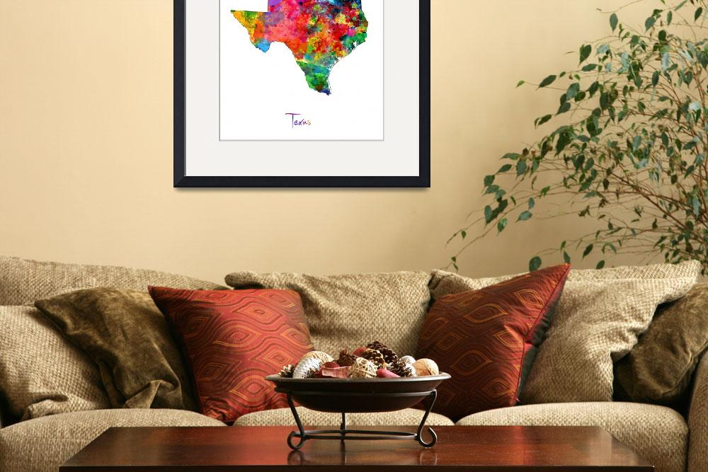 """Texas Map&quot  (2014) by ModernArtPrints"
