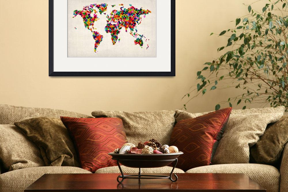 """Love Hearts Map of the World Map&quot  (2012) by ModernArtPrints"