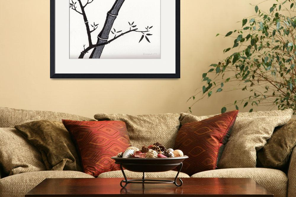 """Zen Sumi Bamboo 2a Black Ink on Watercolor Paper&quot  (2011) by Ricardos"