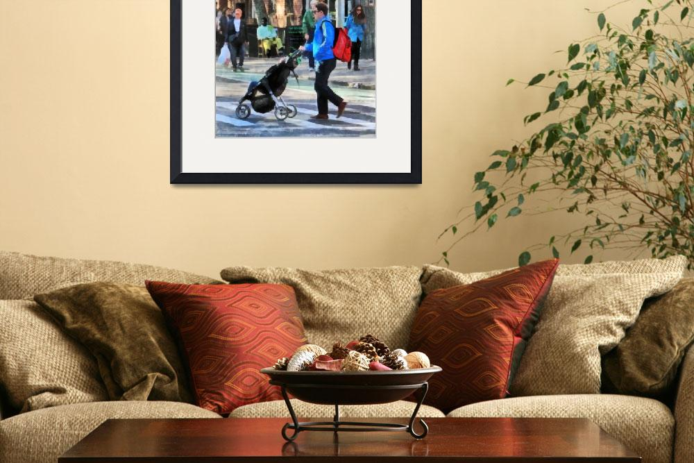 """Daddy Pushing Stroller Greenwich Village&quot  (2012) by susansartgallery"