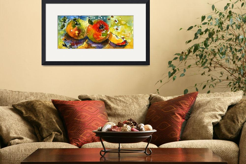 """Apples & Bees Watercolor painting by Ginette&quot  (2004) by GinetteCallaway"