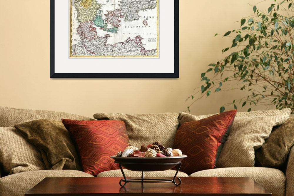 """Vintage Map of Denmark (1730)&quot  by Alleycatshirts"