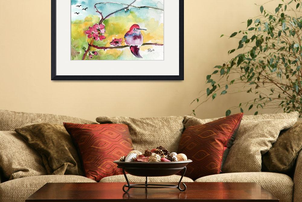 """Hummingbirds & Pink Blossoms Watercolor Ginette&quot  (2012) by GinetteCallaway"