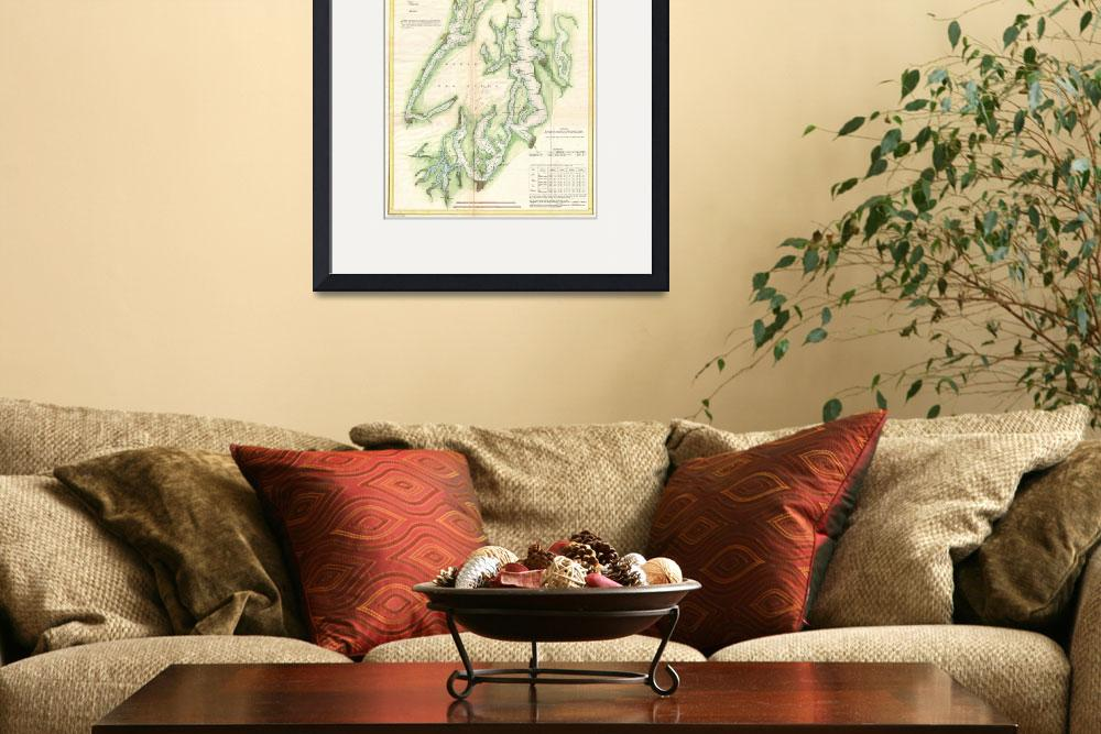 """Vintage Map of The Puget Sound (1867)&quot  by Alleycatshirts"