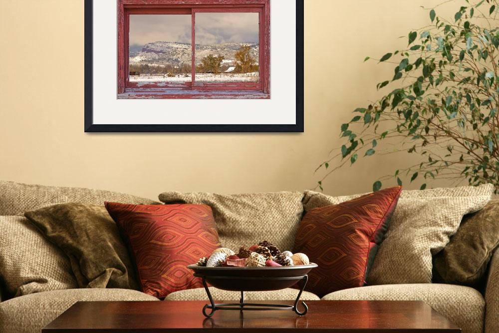 """Winter Rocky Mountain Foothills Red Barn Picture W&quot  (2012) by lightningman"