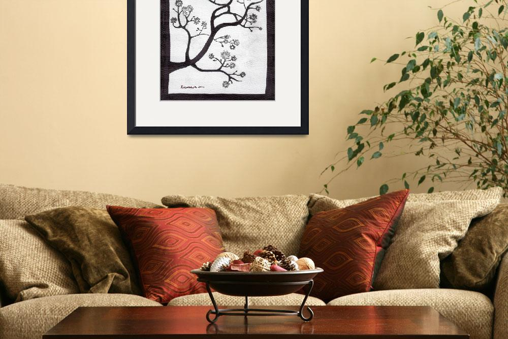 """Zen Sumi Bush Original Black Ink on White Canvas&quot  (2011) by Ricardos"