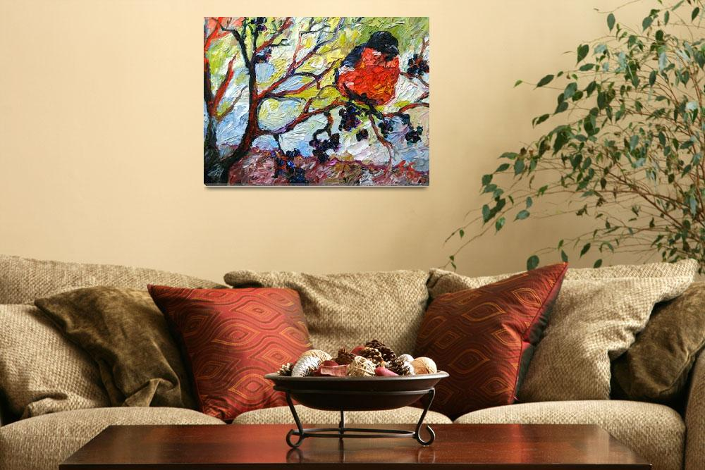 """Red Bird & Black Berries Print from Original Oil&quot  (2008) by GinetteCallaway"