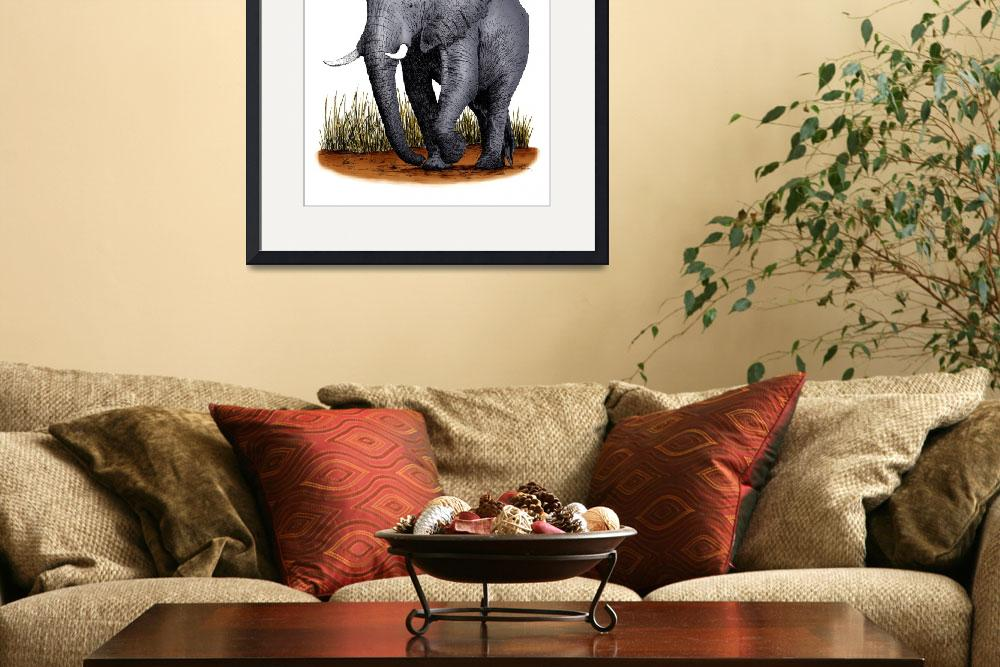 """African Elephant&quot  by inkart"