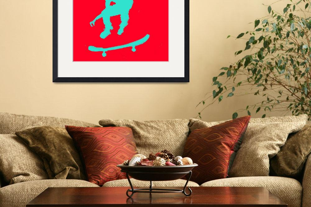 """Skateboarder 3 . red green aqua (c)&quot  (2014) by edmarion"