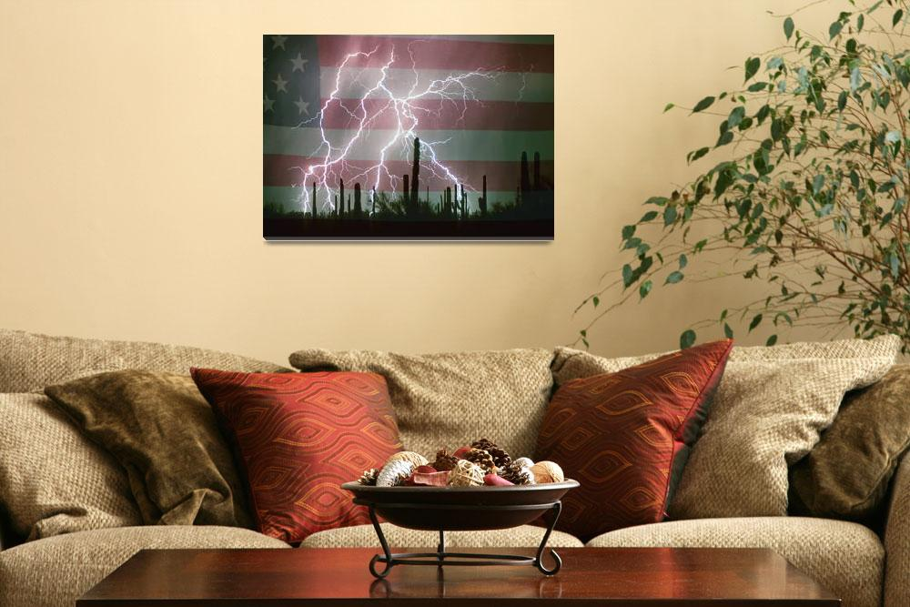 """Lightning Storm in the USA Desert Flag Background&quot  (2011) by lightningman"