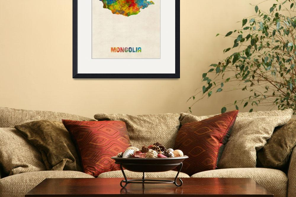 """Mongolia Watercolor Map&quot  (2017) by ModernArtPrints"