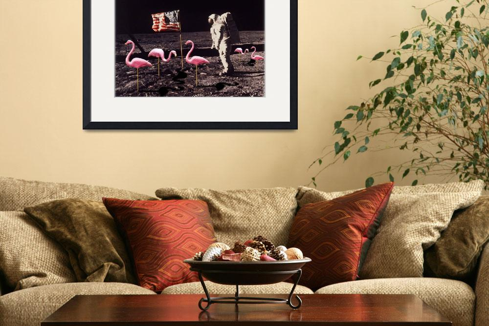 """Neil Armstrong And Flamingos on The Moon&quot  (2014) by RubinoFineArt"