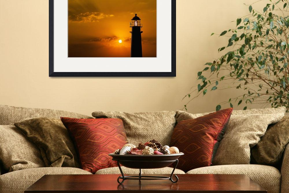 """Lighthouse-At-Sunset&quot  (2015) by johnlund"