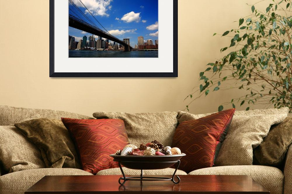 """Brooklyn Bridge - New York City Skyline&quot  (2009) by Ffooter"