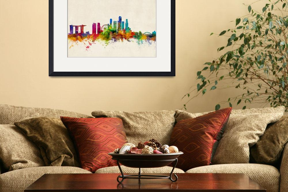 """Singapore Skyline&quot  by ModernArtPrints"