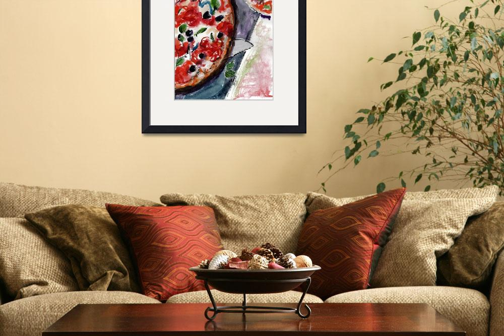 """Pizza Italian Food Watercolor&quot  (2016) by GinetteCallaway"