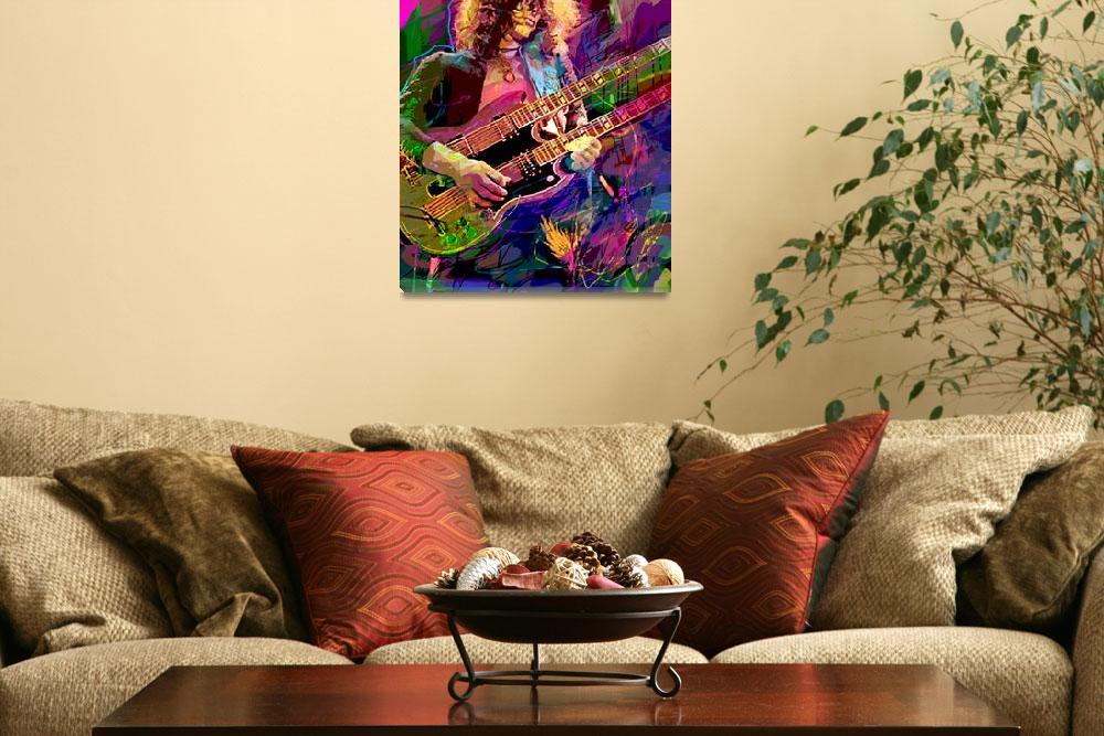 """Jimmy Page Double Neck&quot  (2012) by DavidLloydGlover"