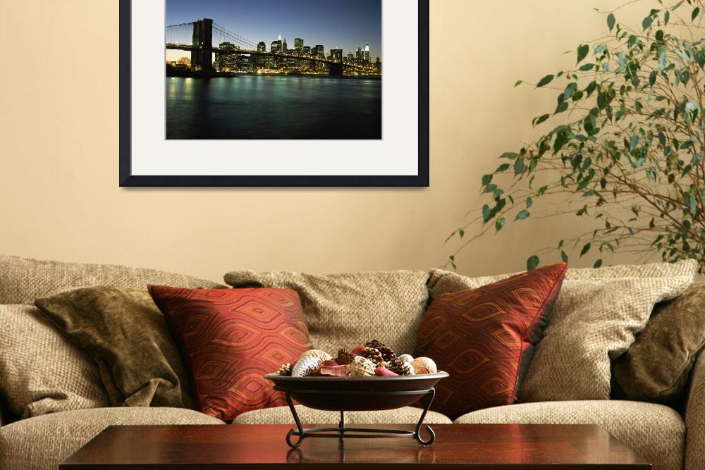 """Looking Across The East River And The Brooklyn Bri&quot  by DesignPics"