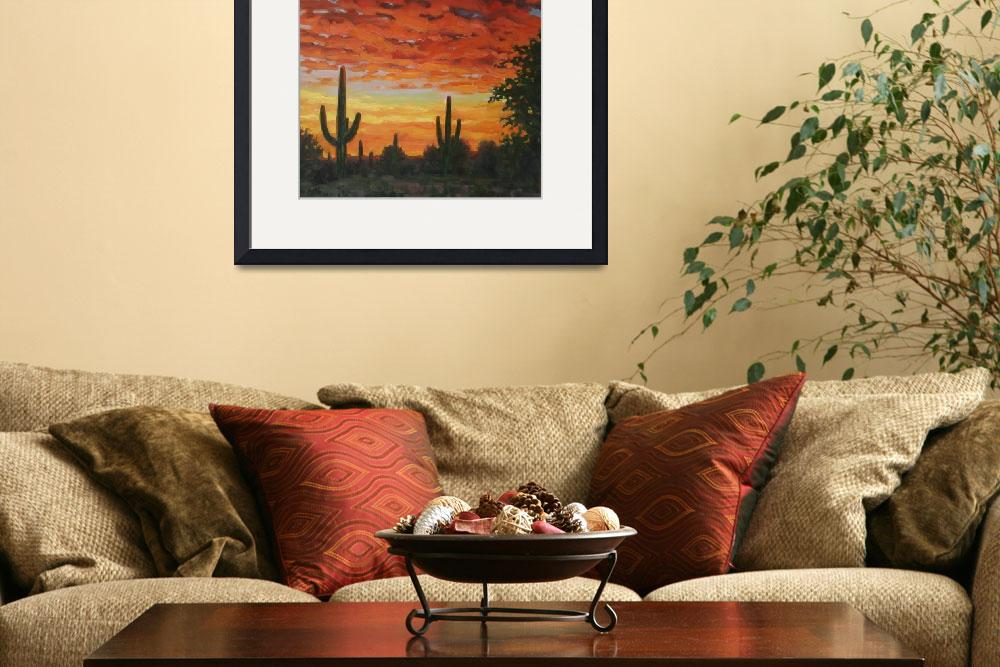 """Plein Air Impressionist Painting Saguaro by Sunset&quot  (2011) by kevinmccain"